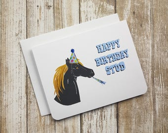 Happy Birthday Stud - Greeting Card - Birthday - Man - For Him - Pun - Fun Card - Horse - Men - Guy - Husband - Boyfriend - Animal - Farm