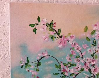 Blossoming apple-tree painted in oil
