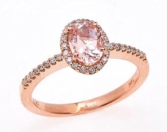 Morganite / Engagement / Oval /Halo / Diamond / 14k / Rose Gold / 7.5x5.5mm / Peach / Pink / Ring