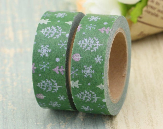 Washi Tape - Christmas Washi Tape - Tree washi Tape - Paper Tape - Planner Washi Tape - Washi - Decorative Tape - Deco Paper Tape -Snowflake