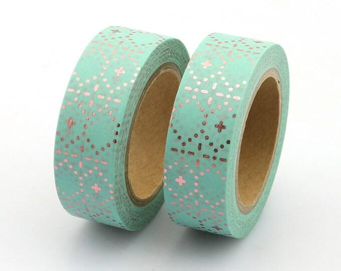 Washi Tape - Foil Washi Tape - Rose Gold Mint Dotted Foil Washi Tape - Paper Tape - Planner Washi Tape - Washi - Decorative Tape - Deco Tape