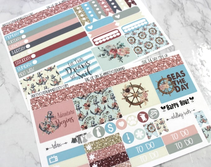Mini Happy Planner Stickers - Personal Planner Stickers - Travelers Notebook Stickers - BuJo Stickers - Seas the Day - Nautical Kit