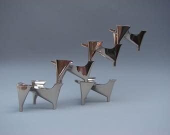 Seventies vintage design Hammonia Motard 5x Vogelflug candle holders