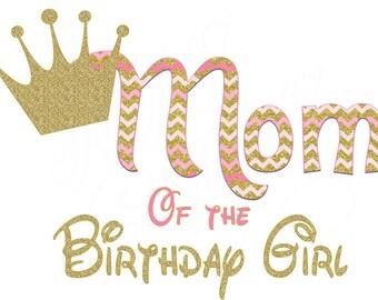 Mom Crown Birthday Pink Gold Birthday Custom Image Iron On Digital Mom Birthday Girl Shirt DIY Iron On Digital Art Matching