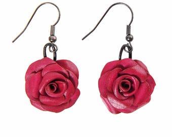 Pink leather full grain cowhide color fuchsia pierced earrings