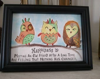 Owl | Happiness is |  Watercolor | Framed | Free Shipping
