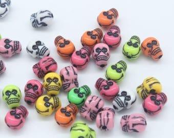 Skull Beads, Acrylic Skulls, Mixed Skulls, Horror Beads, Halloween Beads, Goth Beads, Scary Beads, Death Beads, Death Jewellery,