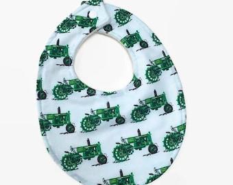Tractor Bib, Green Tractor Bib, Baby Boy Bib, Baby Boy Gift, John Deere Baby, Bib with Tractor