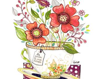 """carte postale fybulle """" jardin de mes pensées"""""""