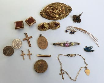Antique Vintage Jewelry Many Wearable Pcs Some Projects Assorted Lot