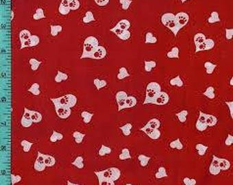 "White hearts with Paws on Red fabric, By the Half Yard, Valentines day fabric, novelty cotton, quilting fabric, 44"" wide, 100% cotton"
