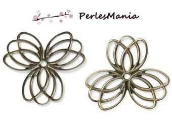 10 pendants multiconnecteurs (S1190287) Bronze colored metal flower