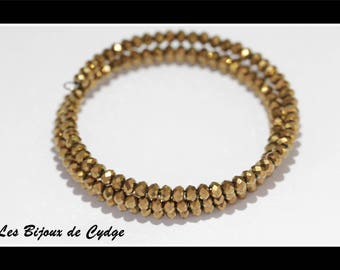Brown bracelet / gold faceted glass beads 3 rows of 55mm memory