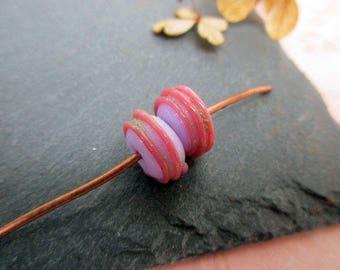 organic - mauve pale, celadon, pink - pearls, Lampwork Glass-lampwork beads, pink
