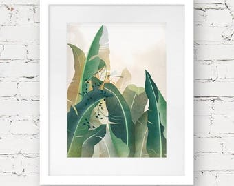 banana leaf art print, modern bohemian art print, tropical art print, botanical illustration, palm leaf print, modern poster art, palm art