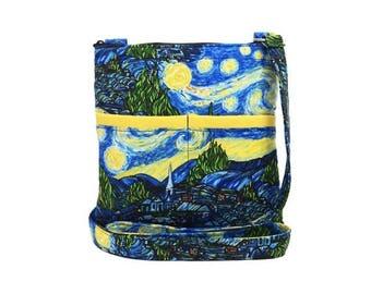 20% OFF SALE The Starry Night Crossbody Bag // Sling Bag // Crossbody Purse // Shoulder Bag // Hipster // Van Gogh