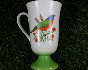 Fred Roberts Porcelain Footed Painted Bunting Bird Mug Made in Japan