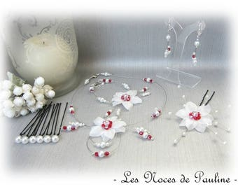 Red white bridal flower silk Eva 10 pieces set