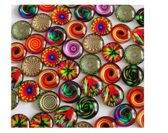 set of 10 glass cabochons 14 mm assortment of colors and patterns when available