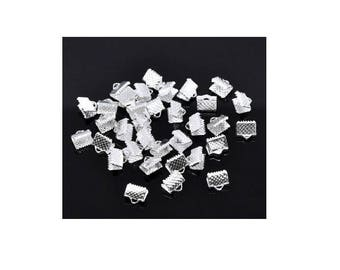 Great Lot of 250 caps 10 mm x 8 mm silver-plated clear claw clips