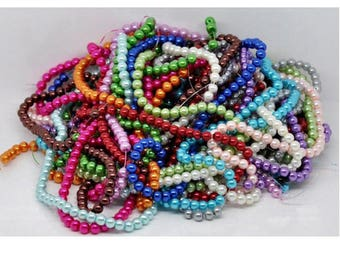 Lot of 1000 glass pearl beads mixed colors 6 mm