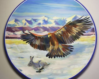 Hunting eagle, original painting on wood plate