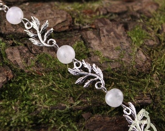 Leaves Elfiques white Labradorite bracelet silver medieval stone Moon Rainbow wedding magic reflection pagan wicca Bohemian nature forest