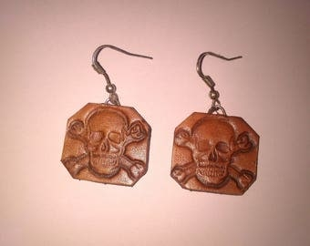 leather skull earring