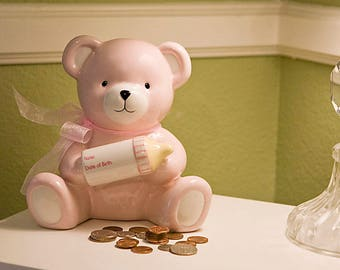 Lovely Pink Girl Baby Bear Holding Bottle Bank With Birth Information