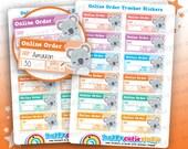 12 lindo pedido Online Tracker planificador pegatinas, Filofax, planificador feliz, Erin Condren, Kawaii, Cute pegatina, Reino Unido
