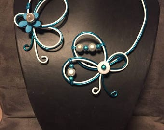 Silver and Turquoise wedding fashion necklace