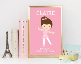 Personalised Ballerina Dancer Children's Room Nursery - A4 Print