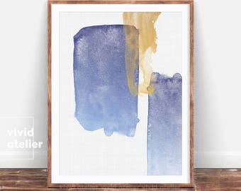 Abstract Art Print, Watercolor Wall Art, Gold Blue Brush Stroke, Modern Minimalist Painting, Printable Digital Download, Large Poster, Ink