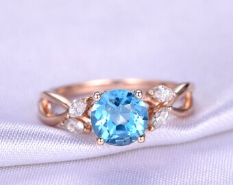 Topaz Ring Blue Topaz Engagement Ring 7mm Round Cut Natural Gemstone Moissanite Wedding Band Matching Band Solid 14k Rose Gold Bridal Ring