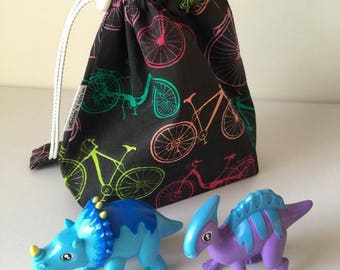 Bicycle Small Grab n Play Drawstring bag, fully lined and with cord lock - perfect to carry a small selection of toys