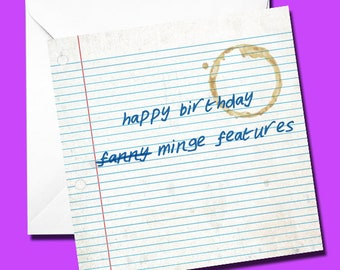 Birthday Card, Funny Card, Rude Card, Illustrated Card, Humour, Happy Birthday, Minge Features