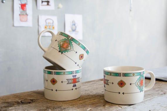 Vintage mugs. Tribal pattern