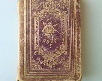 """Antique Leather Bound Book of Poetry and Short Stories, """"The Rose"""" Published in 1845"""