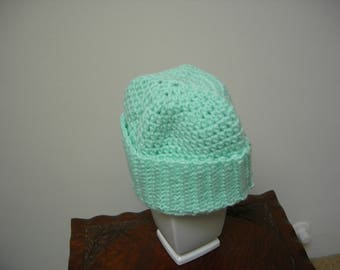 Adult Crocheted Warm/Comfortable Mint Green Winter Hat/Beanie/Cap, Winter Gift, Christmas Gift