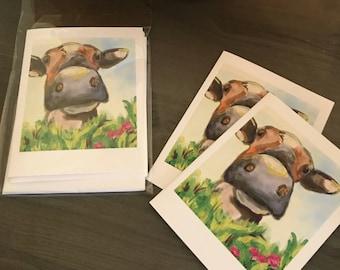 Friendly Cow, Set of 5 blank notecards, original artwork copies