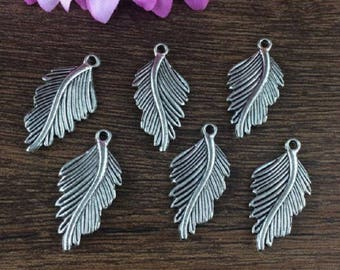 set of 1 silver feather charm 24x30mm