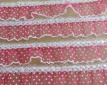 1 meter Ribbon lace organza sequin 4 centimeters wide