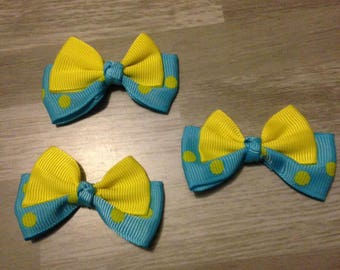 5 flower applique yellow blue grosgrain ribbon bow has polka dots
