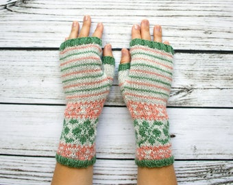 Fair Isle Fingerless Gloves -   Fingerless Mittens - Fingerless Wool Gloves - Knit Arm Warmers