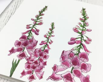 Floral Notecards / Small Foxglove Cards / Thank You Card / Invitation Cards / Nature Cards / Notelets For Garden Lovers / Gift For Gardeners