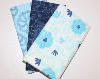 SALE - 3 Fat Quarters - Light blue, navy - cotton fabric