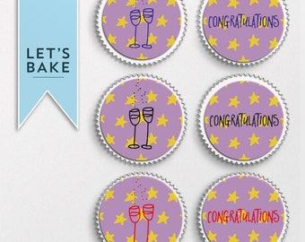 Congratulations,cupcake topper,edible,congratulation cupcake toppers,celebrate cupcake topper,graduation cupcake,digital download