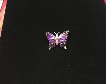Vintage Brooch, Butterfly, Silvertone, Painted Purple, Black, White, Yellow