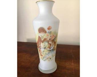 Vintage made in japan frosted glass vase