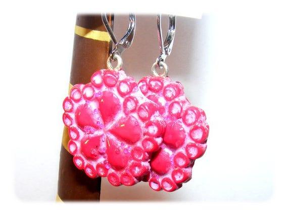 Unique Designer [RedFlowers] pink/red earrings